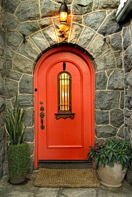 stone accented by red door