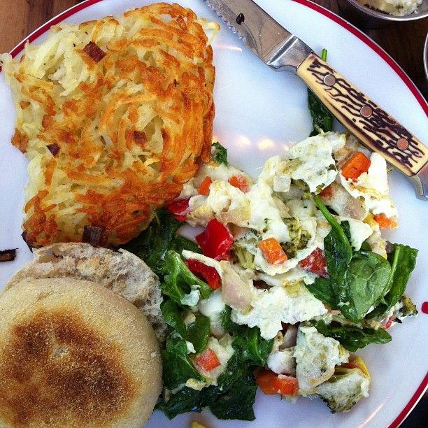 Pan Scrambled Egg Whites, Roasted Seasonal Vegetables, Spinach, White ...