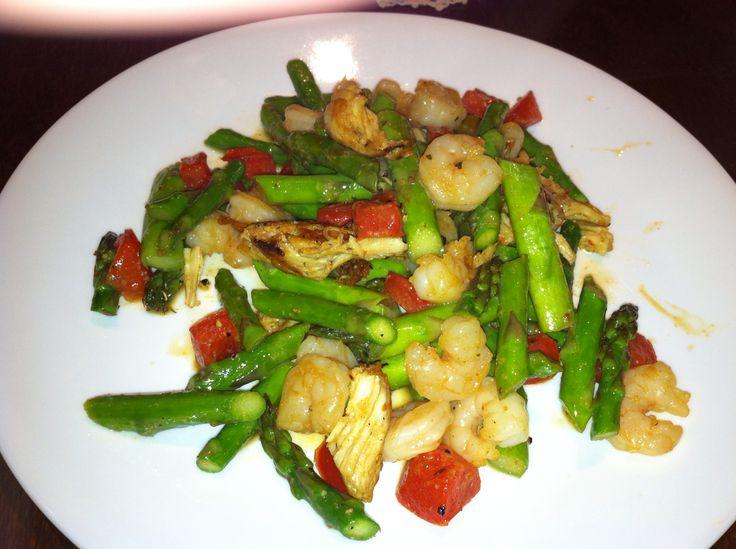shrimp with asparagus and red pepper sauté with lemon butter, garlic ...