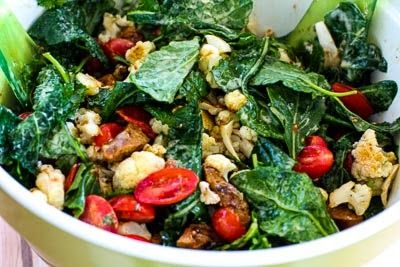Roasted Cauliflower Salad with Italian Sausage, Tomatoes, Kale, and B ...