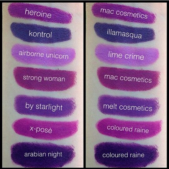 Purple Lipstick swatches | Makeup | Pinterest