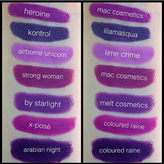 Purple Lipstick swatches | Makeup | Pinterest