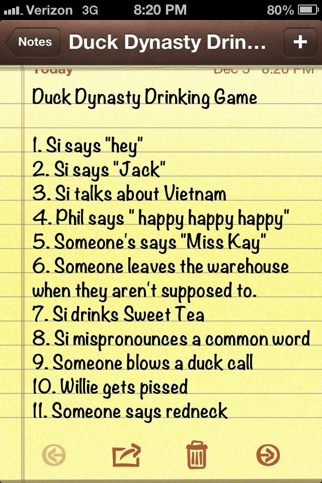 Twitter thebigc hill duck dynasty drinking game