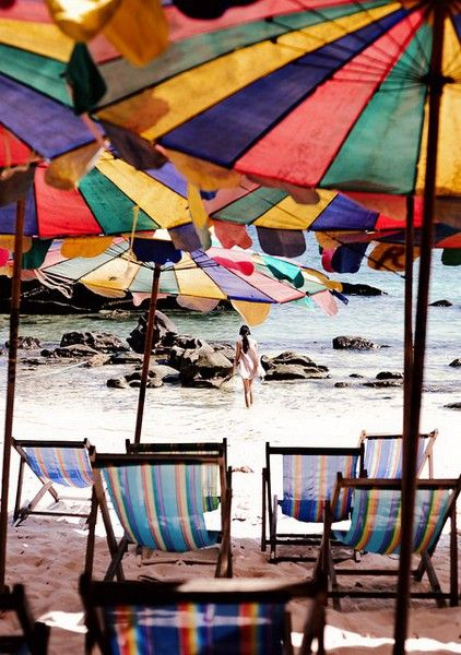 Colorful umbrellas at the beach