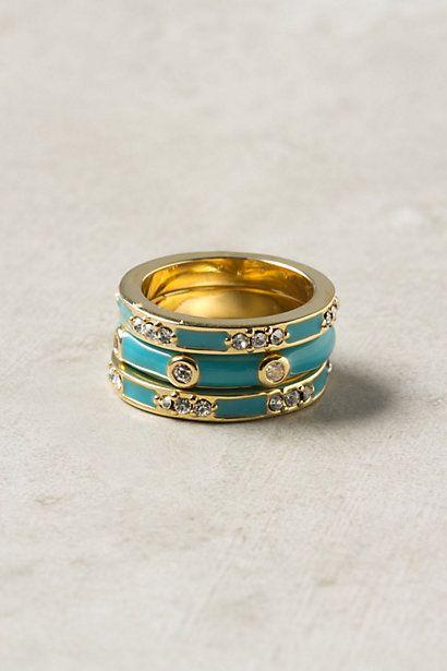 Enamel Trio Rings