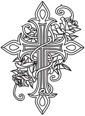 Cross With Wings Coloring Pages Of Crosses And Roses Design