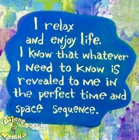 Relax and enjoy life quote via www.Facebook.com/SilentHymns
