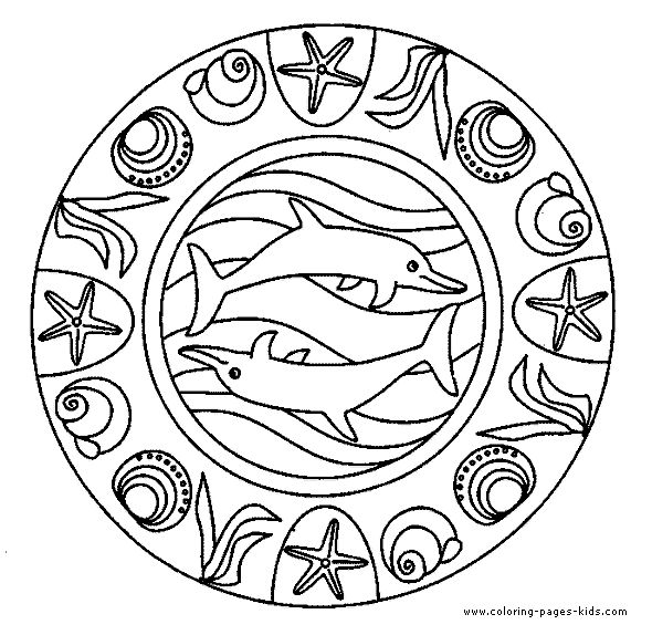 American Hippie Art Coloring Pages Mandala Dolphin Sea