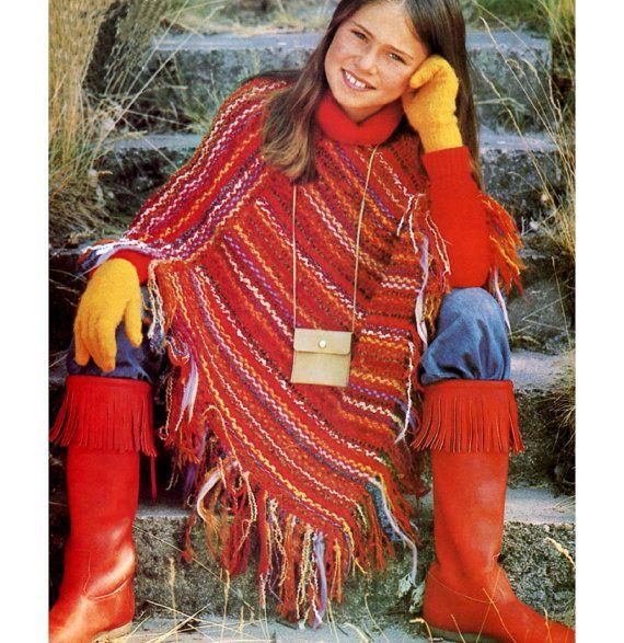 Vintage 1970s Crochet Pattern  Woven Bohemian Hippie Fringe Poncho by 2ndlookvintage, $3.00