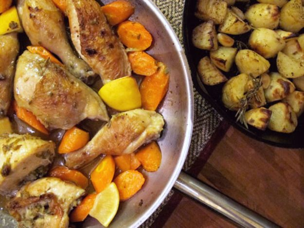 Lemon-Rosemary Roasted Chicken with Crispy Potatoes | Serious Eats ...