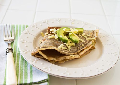 ... Crêpes (made with flour, eggs, milk) with Avocado & Aged Cheddar