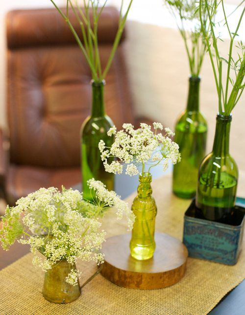 lovely white elderberry flowers in green bottles
