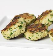Millet Fritters with Feta, Spinach and Golden Raisins | Recipe