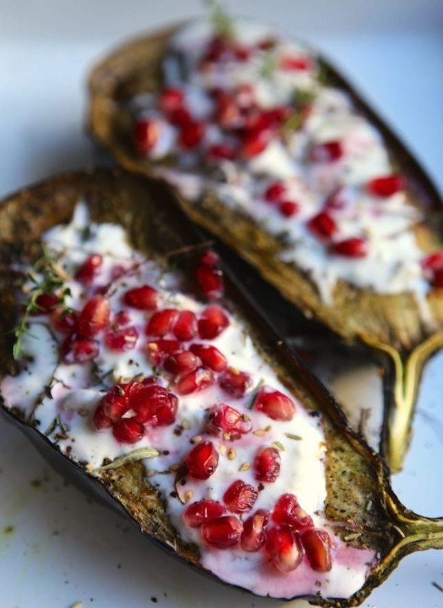 Eggplant With Buttermilk Sauce + Pomegranate