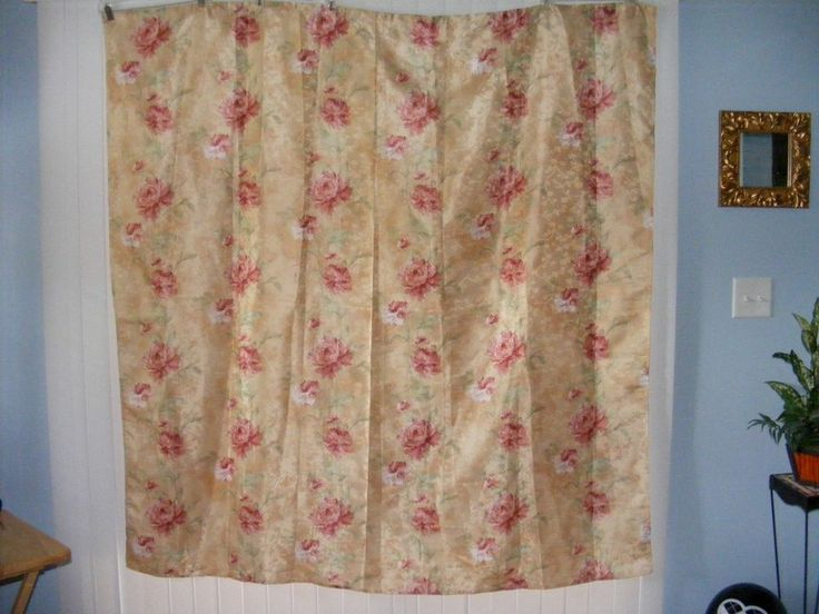 Fabric Shower Curtain Gold Ivory Rose Pink Sage Green Floral Pretty B