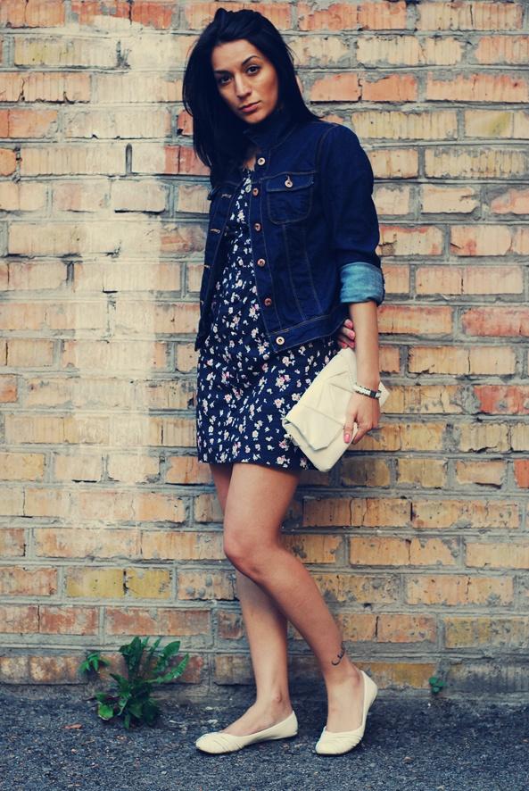 Jean jacket with cute dress!