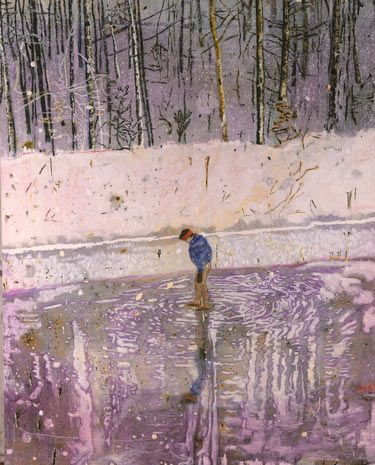 'Blotter' by Peter Doig won the first prize in the 1993 John Moores exhibition. http://www.liverpoolmuseums.org.uk/walker/collections/20c/doig.aspx