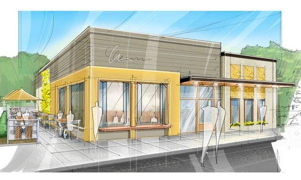 Gray cafe exterior toned stockfotos en rechtenvrije