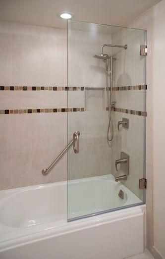 Small half bathroom decor ideas - Frameless Glass Tub Door Bathroom Pinterest