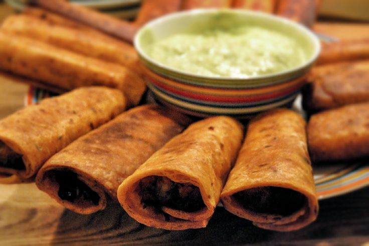 Spicy Chicken Flautas With Lime Sour Cream Recipe — Dishmaps
