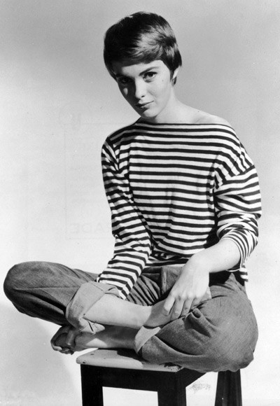 Jean Seberg in one of her famous striped breton shirts.
