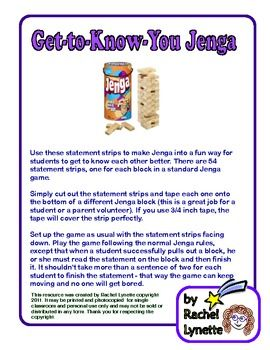 FREE Get-to-Know-You Jenga - Great for scout groups, summer camps and back to school!