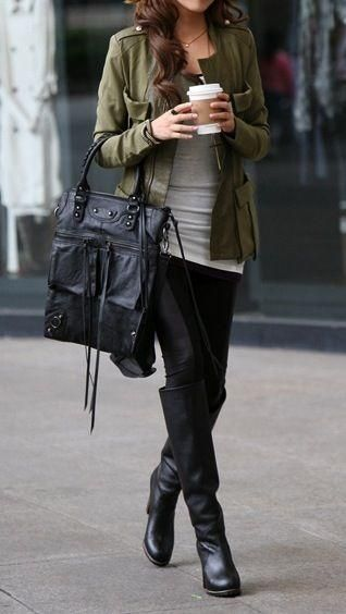 olive jacket / grey / black skinnies + boots,