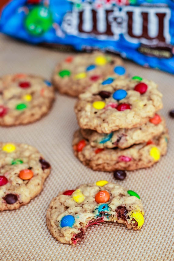 Chewy Oatmeal M&M Cookies