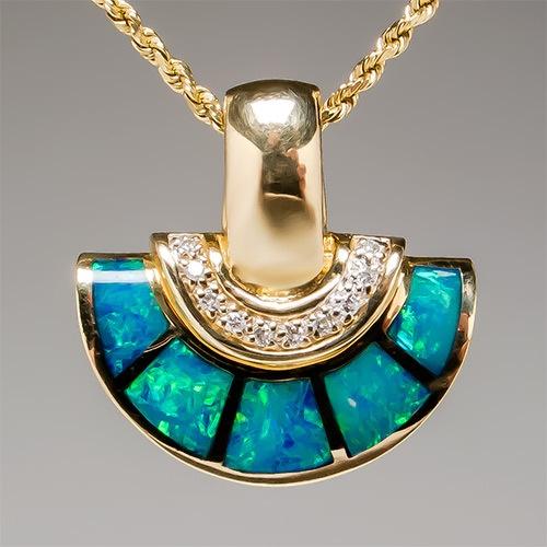 australian opal inlay genuine pendant solid 14k