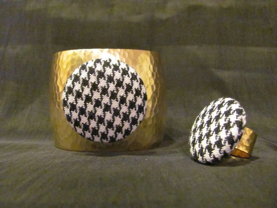 Houndstooth Hammered Cuff Bracelet and Ring Set  by GamedaybySJ, $50.00 university of Alabama game day