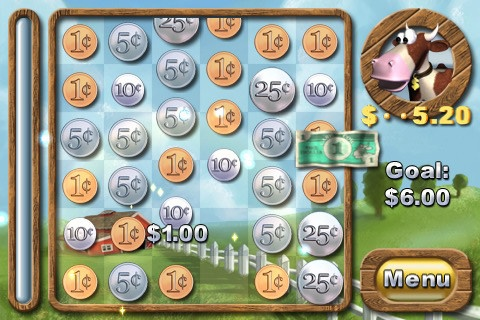 Cash Cow Lite ($0.00) Help Buck the Cow and his friends save the farm in this original game of coin counting. The objective is simple: earn money by counting up your loose change. Small coins make big coins, and big coins make dollar bills. Things get trickier when you add counterfeit money, ladybugs, gold nuggets, glowing coins, and powerups into the mix.