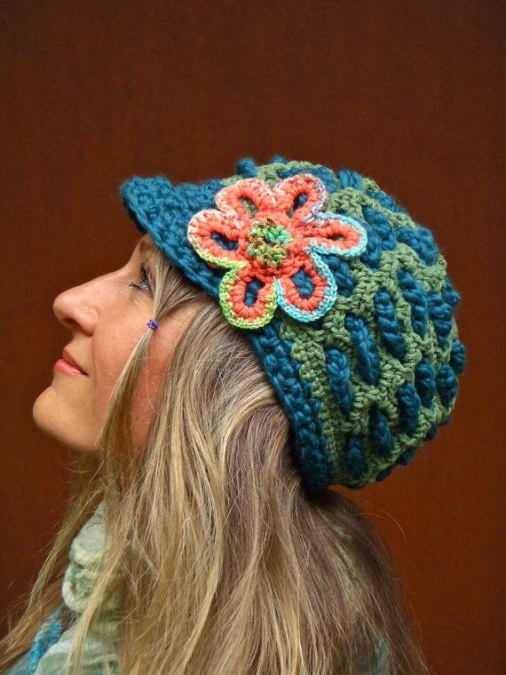 teal SLOUCHY beanie crochet Slouch hat FLOWER cap by GPyoga, $49.00