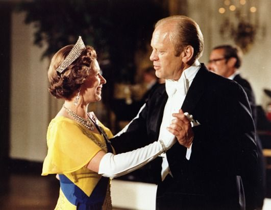 "Queen Elizabeth II and U.S. President Gerald Ford. A humorous side note is that as The Queen took to the dance floor, the Marine Band struck up ""The Lady is a Tramp"". July 17, 1978 at the White House State Dinner."