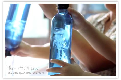 Jellyfish in a bottle: plastic baggie, thread, water bottle & food dye