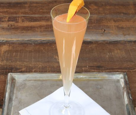 Peach Prosecco...wonder if this would work for breakfast tailgating?