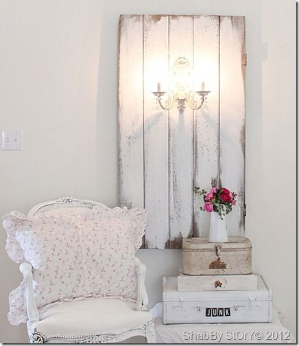 DIY:: Repurposed Barn door With   Sconce !