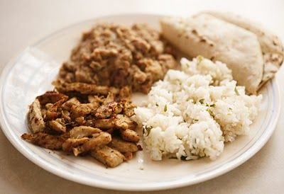 Lime Chicken with Cilantro, Lime Rice, and Refried Beans