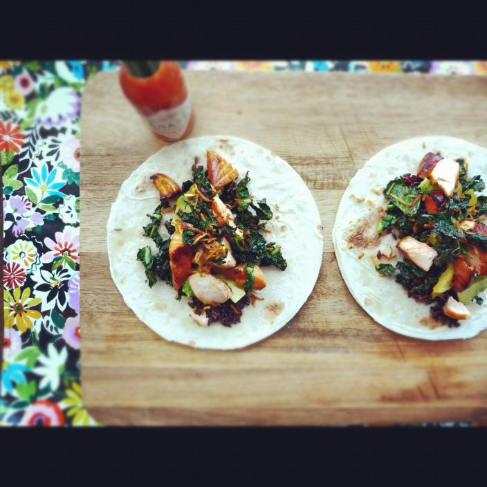 honey-soy salmon, coconut, and crispy kale tacos..loved this-no spicy ...