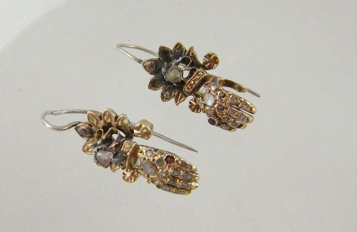 Antique rose cut diamonds 12 kt gold gloved hand earrings