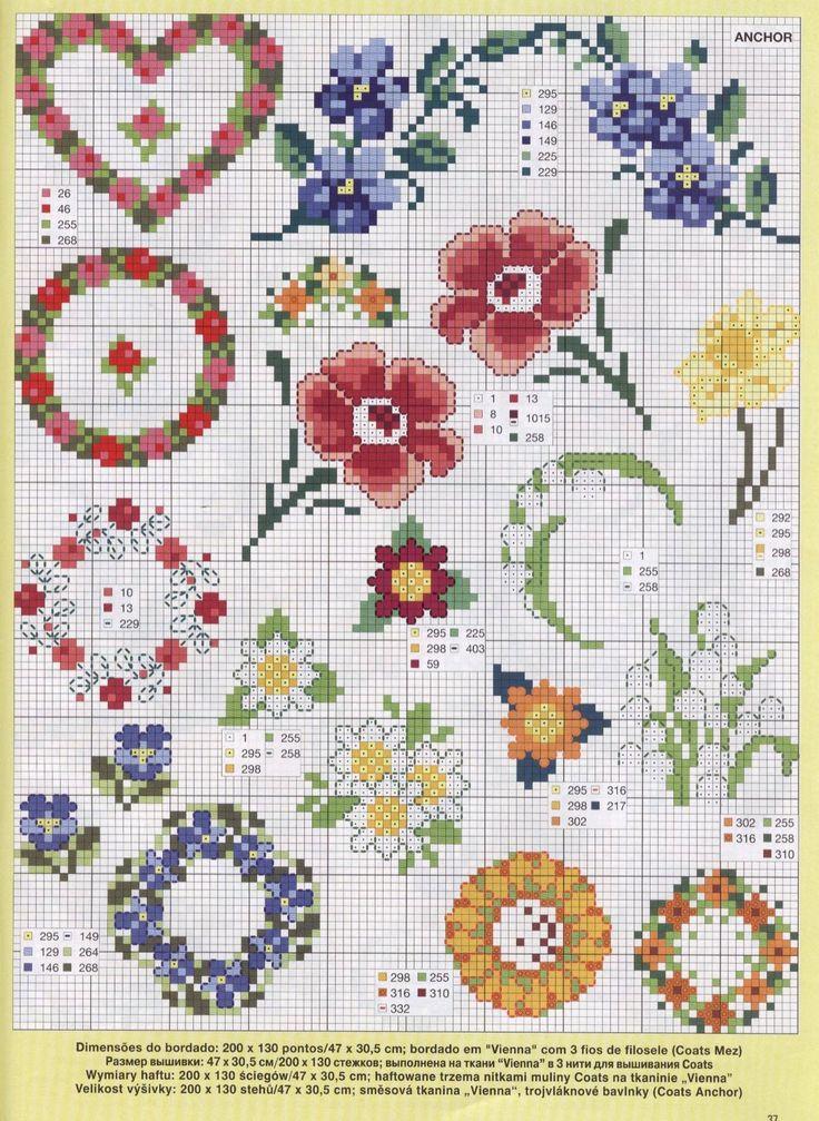 Вышивка крестом маленький цветок 1122