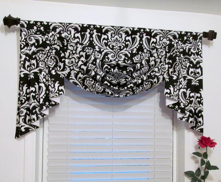 SWAG and JABOTS Classic Window Treatments Black & White DAMASK