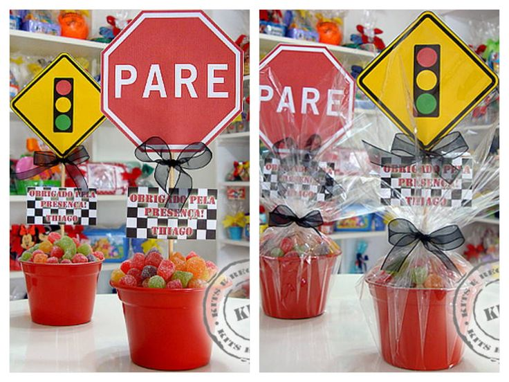 Candy car theme centerpiece invites and centerpieces