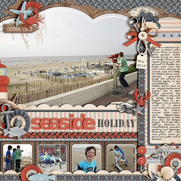#papercraft #scrapbook #layout.   Seaside holiday LO