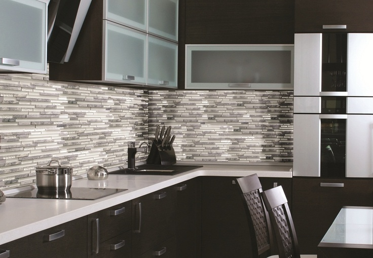 kitchen backsplash using several shades of grey is trendy and