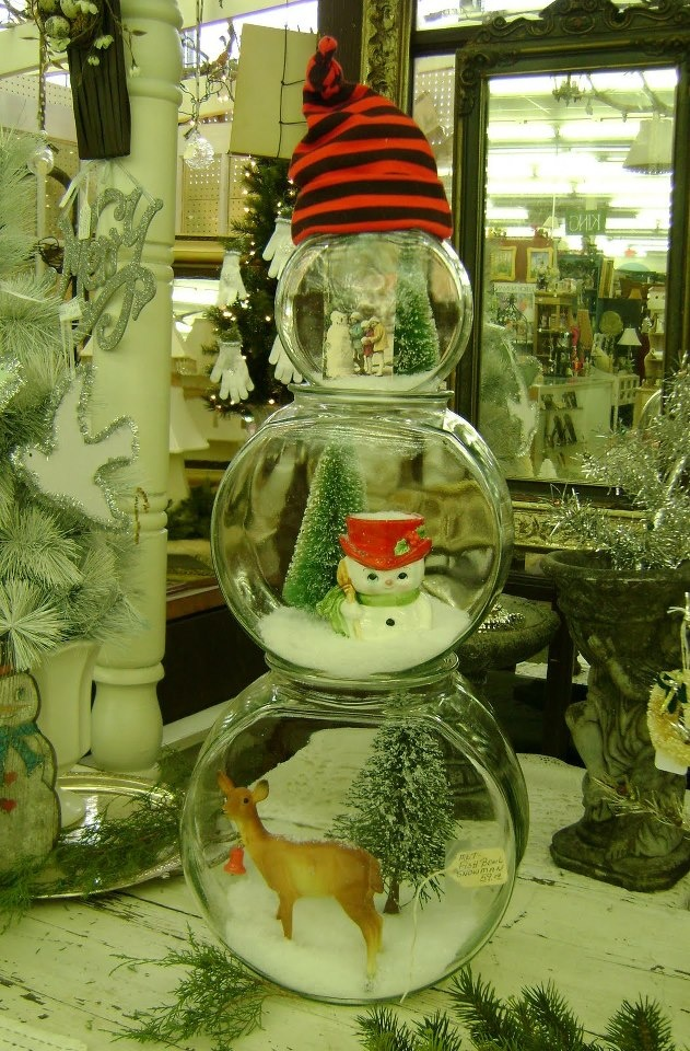 fish bowl snowman glass blocks pinterest