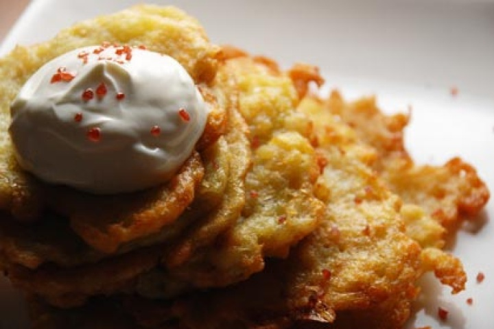 rosti style potato latkes with rosemary and brown butter applesauce ...