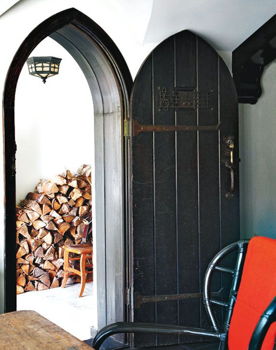 Gothic Revival Style Black Gothic Arched Doorway Bayer Built