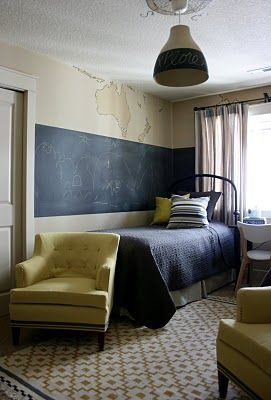 looove this little boy's room: the map painted on the walls, chalkboard, vintage touches everywhere.