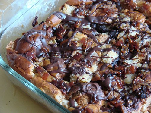 ... , bourbon soaked, bacon and chocolate chunk studded bread pudding