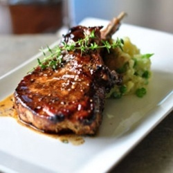 Perfect grilled pork chop with balsamic maple glaze